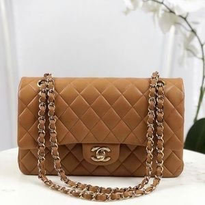 Chanel Double Flap Quilted Lambskin Camel Brown GH